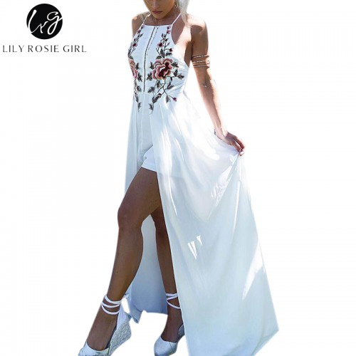 Lily Rosie Girl White Embroidery Floral Party Playsuits Split Autumn Winter Backless Jumpsuits Short Beach