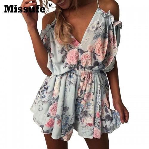 Missufe Floral Printed Playsuits Off Shoulder Overalls Femme Jumpsuit Casual Deep V Neck Backless Ruffles