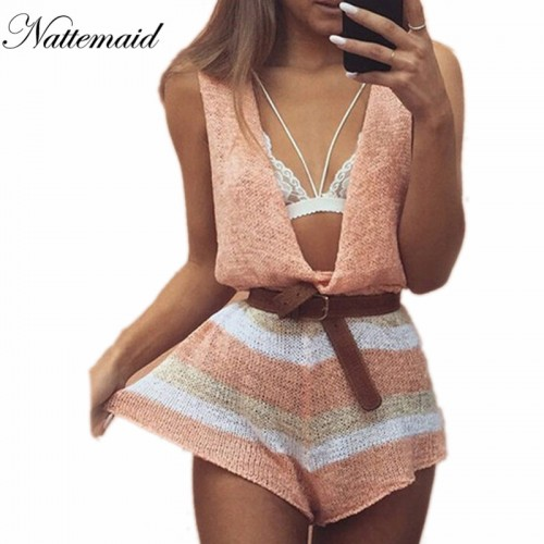 NATTEMAID Spring Summer knitted jumpsuits women rompers Drop v neck loose short jumpsuit Female sleeveless