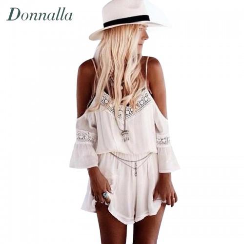 New Combishort Femme Summer Loose White Short Jumpsuit Deep V neck Spaghetti Off Shoulder Playsuit