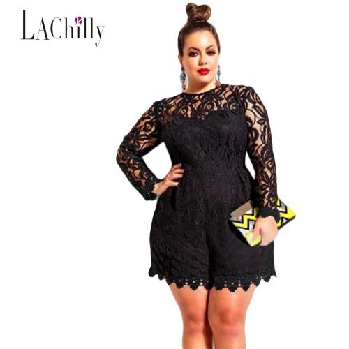 New Lace jumpsuit women Plus Size Long Sleeve Lace Romper LC60599 jumpsuit macacao