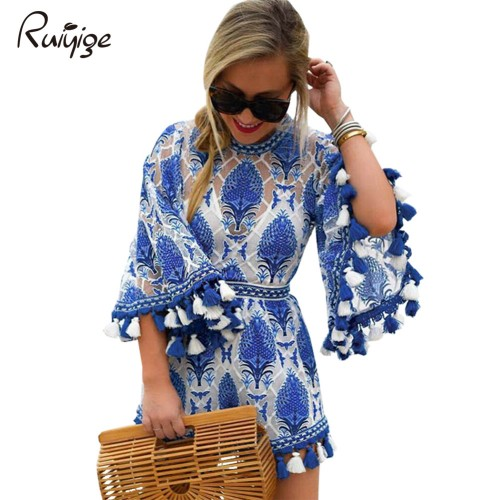 Ruiyige Summer Women Boho Jumpsuit Playsuits Embroidery Crochet Lace Tassel Beach Overalls Causal Hollow Out
