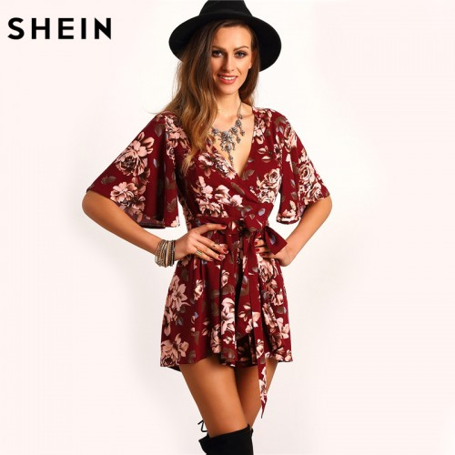 SHEIN Shorts Rompers Womens Jumpsuits Summer Ladies Red Deep V Neck Short Sleeve Floral Tie