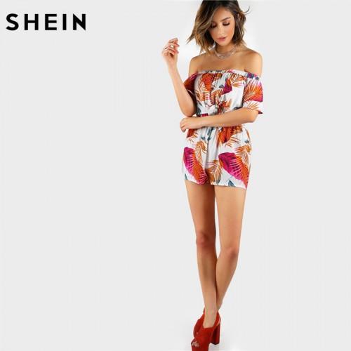 SHEIN Summer Multicolor Palm Leaf Print Layered Knot Front Open Back Playsuit Off the Shoulder Short