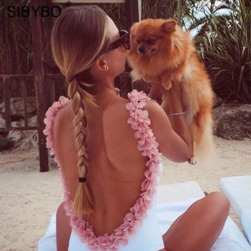 Sibybo Bodysuit Women Jumpsuit Summer Breathable Floral Lace Playsuit Rompers Womens Jumpsuit Club Beach
