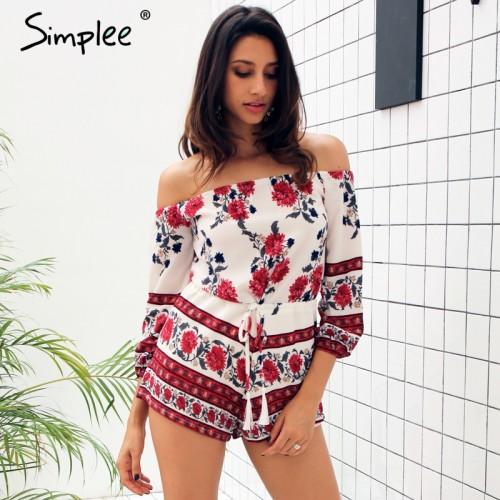 Simplee Appare off shoulder red floral print elegant jumpsuit romper Summer Style beach short