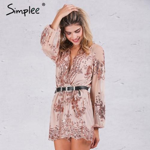 Simplee Autumn Gold sequin embroidery elegant jumpsuit romper Transparent mesh sleeve playsuit women Deep v