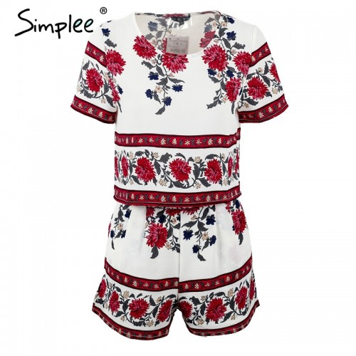 Simplee Elegant jumpsuit romper two piece suit Boho chic flower playsuit women Summer style overall Casual