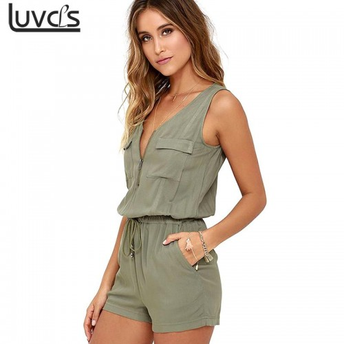 Sleeveless bodysuit V neck zipper pockets playsuit shorts romper summer Fashion beach overalls femme frock