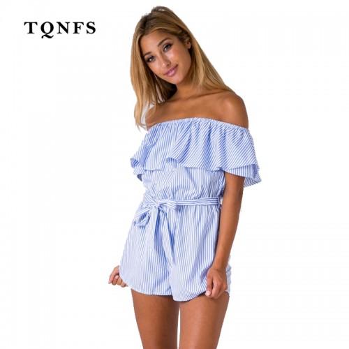TQNFS Ruffles Off Shoulder Striped Women Summer Short Jumpsuits Beach Woman Short Bodysuits Overall