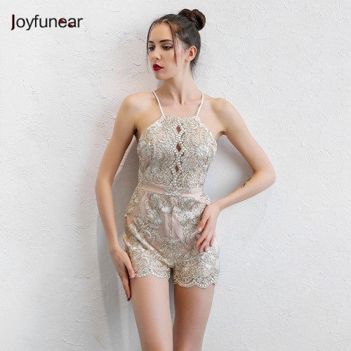 women Gold Line Sequined jumpsuit New fashion Lady straps Autumn women sleeveless Beads Lace Bandage Playsuits