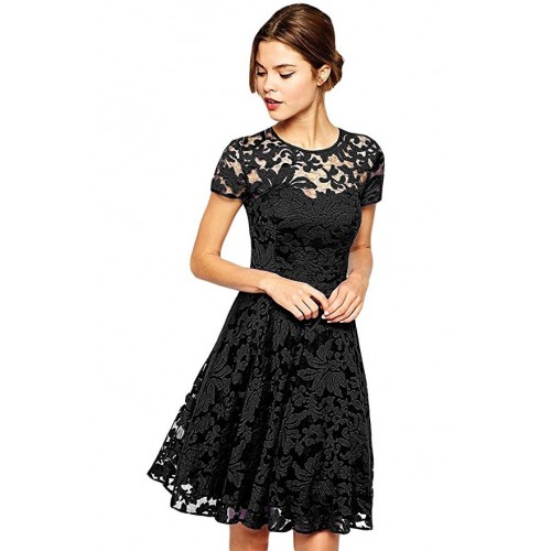 Black Floral Lace Short Sleeve Summer Party Casual Mini Dress