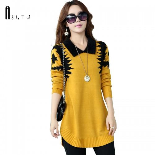 ASLTW Women s sweater Dress New Fashion casual Plus Size Long Pullover lapel Slim Long
