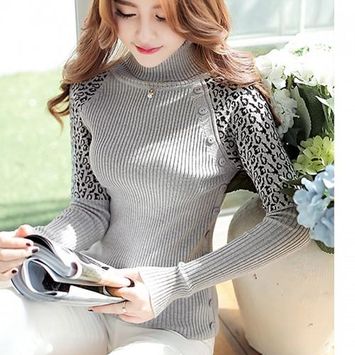 Autumn Winter Cashmere Sweater Women new fashion Warm Slim Leopard pattern Turtleneck Pullover Women Sweaters