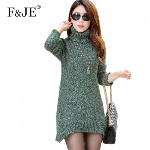 Autumn winter New Fashion Women Turtleneck Wool Sweater Korea Brand Lady Casual Long Pullover Thicken Warmth