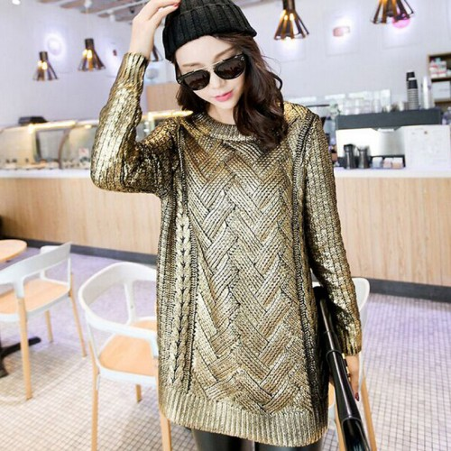 European women s gold sweater round neck casual gold silver fashion sweater ladies shawl sweater