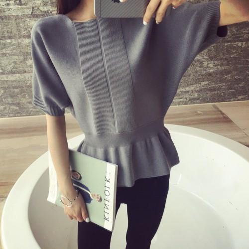 Female head short sleeve sweater sweater collar bat sleeve loose solid short sleeved blouses spring