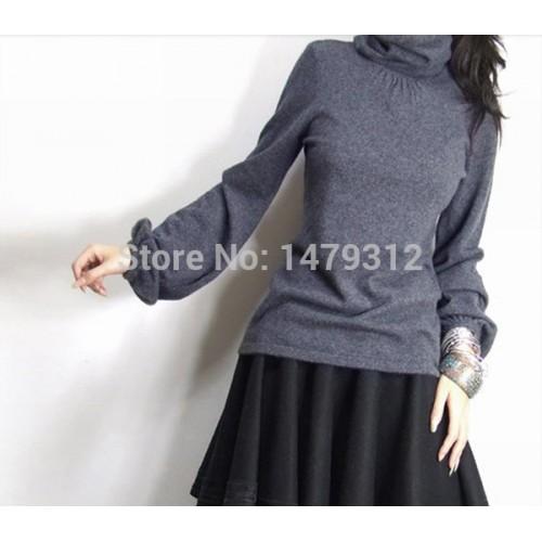 Gratis verzending vrouwen hoop coltrui kasjmier trui vrouwen trui slanke gebreide trui