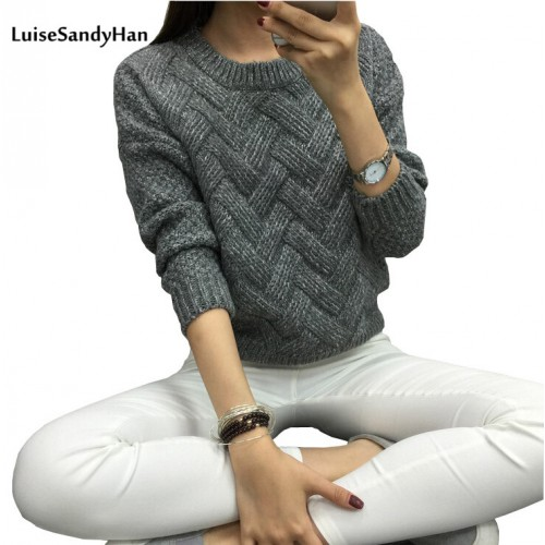LuiseSandyHan Women Pullover Female Casual Sweater Plaid O neck Autumn and Winter Style