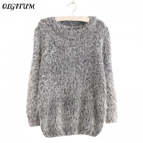 Mohair Pullover Autumn Winter Women s o Neck Sweater Women Hedging Loose Pullover Casual Sweater