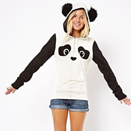 New Fashion High Quality Women s Winter Warm Panda Fleece Pullover Jumper Hooded Sweater Coat