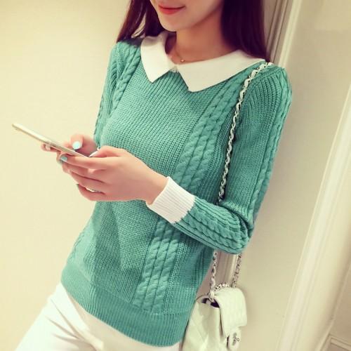 New fashion doll collar head slim shirt sweaters short Sweater Girl pullovers