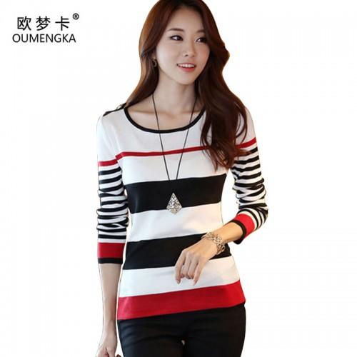 OUMENGKA New Spring Autumn women sweater casual Slim Red Black Stripes Blue Black Stripes S