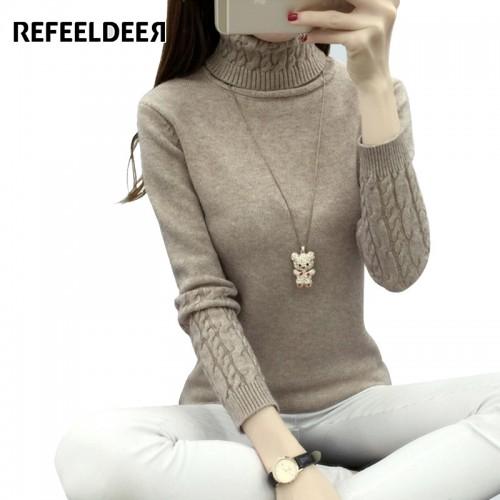 Refeeldeer Women Turtleneck Winter Sweater Women  Long Sleeve Knitted Women Sweaters And Pullovers Female Jumper