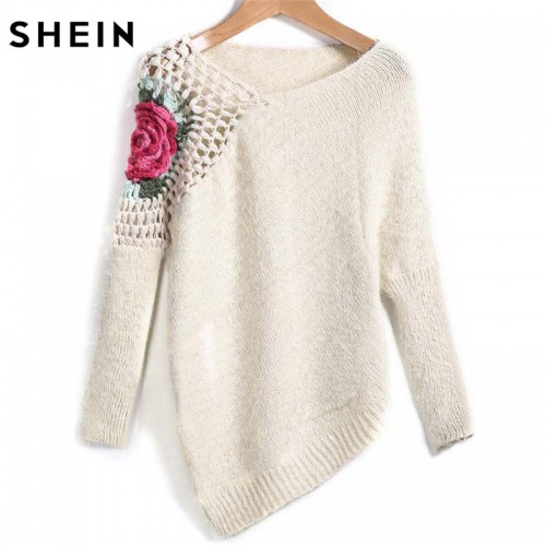 SHEIN Apricot Round Neck Floral Crochet Loose Sweater Fall Women New Sweaters Embroidery Asymmetrical Pullovers