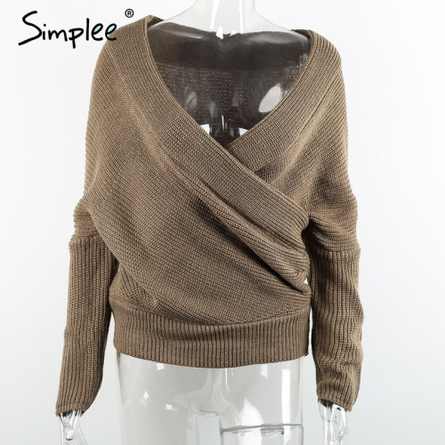 Simplee thick pullovers white sweater women Autumn winter retro batwing sleeve legant loose jumper
