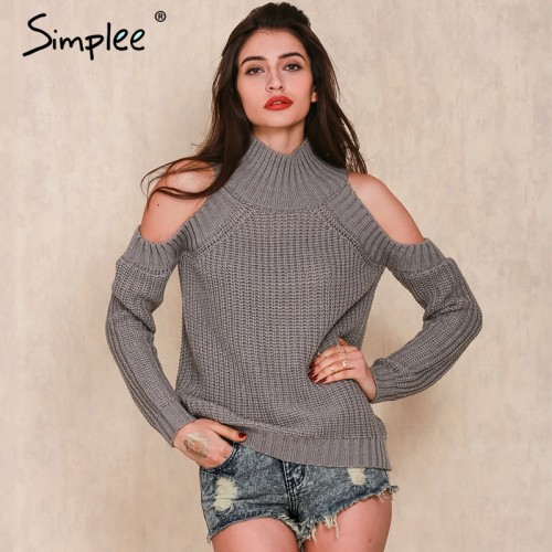 Simplee turtleneck off shoulder knitted sweater women Autumn fashion tricot pullover jumpers