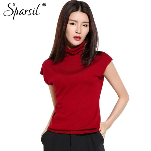 Sparsil Women s Summer New Ruffled Collar Sweaters Short Sleeve Knitted Shirt Fashion Daily Life Knitwear