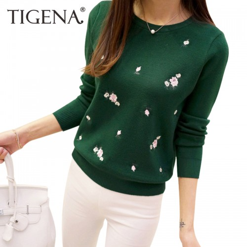 TIGENAEmbroidery Floral Knitted Sweater Women Winter Sweater And Pullover Female Winter Top Tricot Jumper