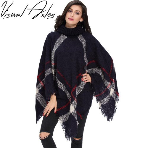 Visual Axles Plus Size Winter Warm Women s Wool Turtleneck Sleeveless Pullovers Plaid Knit