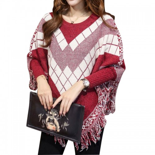 Women Oversized Sweaters Plaid Street Tassel Batwing Sleeve Midi Pullover Sweater Womens Capes and Ponchoes Knitwear