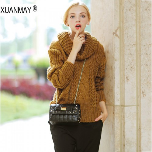Women s Autumn and winter High collar Sweater coarse lines female 2017 new Loose big yards