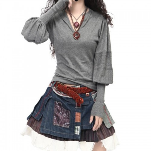 fashion New Arrival Cashmere Sweater Winter V Neck Lantern Sleeve Sweater Pullovers Women s Long