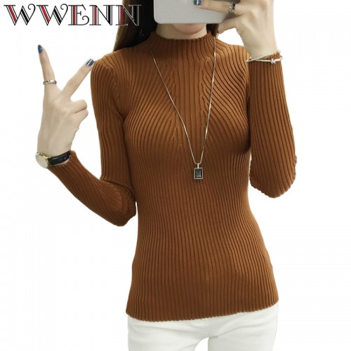 fashion women sweaters turtleneck knitted sweater female knitted pullover ladies all match basic thin