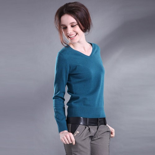 new sweater women V neck cashmere sweater female wool pullover genuine solid color special shirt