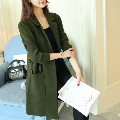 4994 real women s new pure color straight cylinder Lapel thickening knitting jacket 105