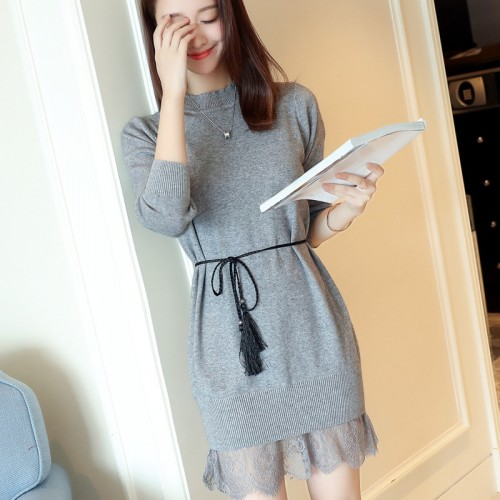 7262 round neck hem lace belt wool dress 45 2 color 1 building 2 District right