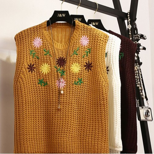 All season matched O Neck Pullover Tank Sleeveless Medium Vest Embroidery Multi Color Flower