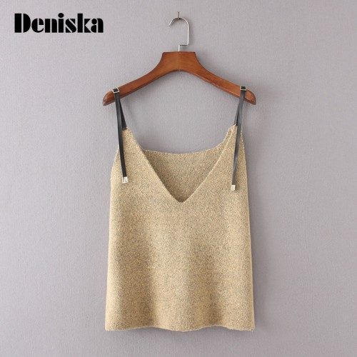 Autumn Sleeveless V Neck Vest Sweater Leather Slip Women Fashion Spaghetti Strap Top Solid Color