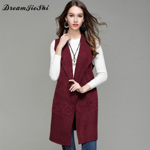 Dreamjieshi autumn turn down collar knitted cardigan solid color sleeveless vest sweater coat female kimono sweater
