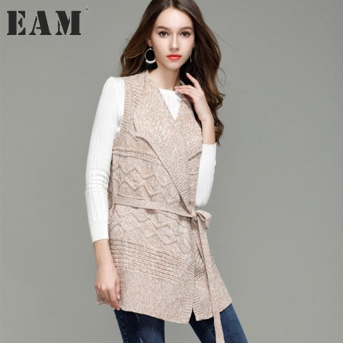 EAM Autumn And Winter New Fashion Turn down Collar Sleeveless Sweater Coat Open Stitch