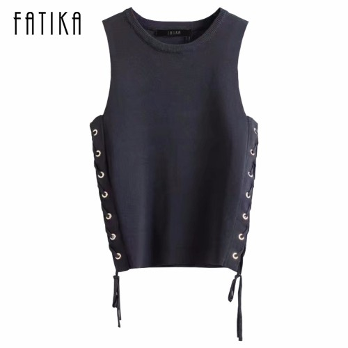 FATIKA  Autumn Brand New Sweater Women Fashion O Neck Vest Pullovers Side Lace up Sleeveless