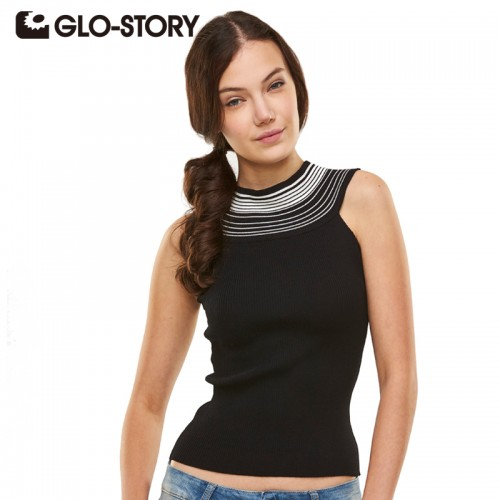 GLO STORY Women Tops 2017 New Sleeveless O neck Knitted Vest Sweater Women Pullovers Black Women