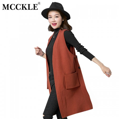 MCCKLE Female Solid Oversized Vest Women Knitted sleeveless Waistcoat Ladies knitting Colete 2017 Autumn New Fashion