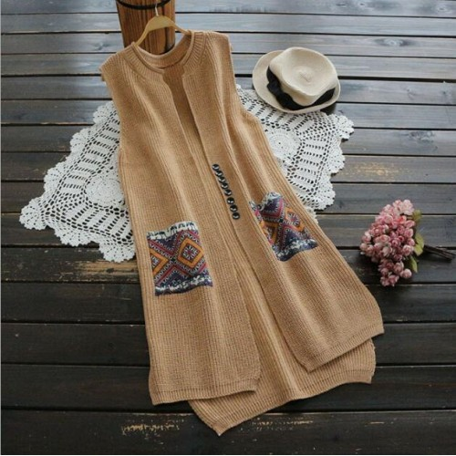 National wind patch pocket long sleeveless Vest sweater women winter autumn mori girl