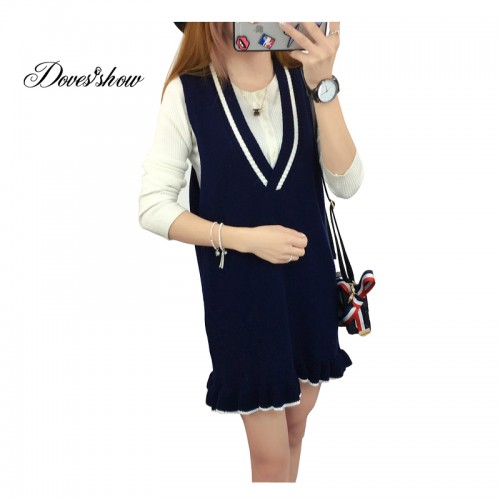 New Women Autumn Sweater Knitted Dress Solid long Vest Sleeveless Basic Shirt Women Casual Sweater